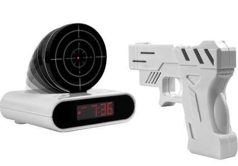 Target Practice Time-Tellers - The Gun Alarm Clock by Trademark Games Channels Morning Aggression