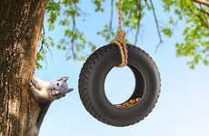 Wheely Avian Feeders - The Swing Time Bird Feeder Humorously Resembles a Car Tire