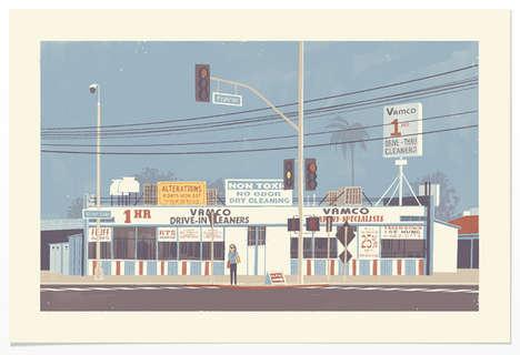 Retro Scene Architecture Illustrations