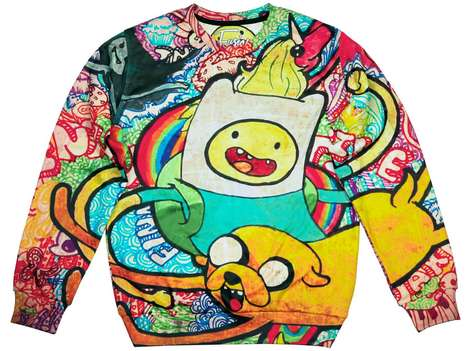 Contemporary Cartoon Crewnecks - Fusion Clothing Unveils Full-Print Sweaters for Adventure Time Fans