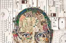 Tech Leader E-Waste Portraits - Jason Mecier's Portrait of Steve Jobs is Made from Hardware
