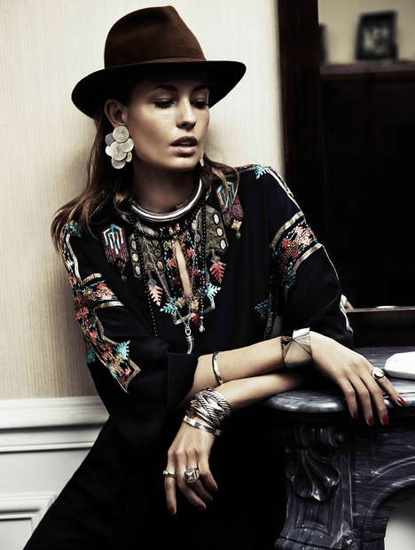 Seductively Boho 70s Editorials - Nadja Bender Poses Seductively for Vogue Paris