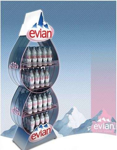Droplet-Shaped Water Displays - This Evian Water Display Uses Its Product as Inspiration