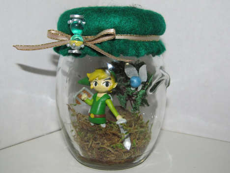 Gamer Elf Diorama Jars - Zelda's Phantom Hourglass Game Replica Link Elf Diorama is Charming