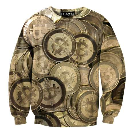 Internet Currency-Covered Sweaters - This Shiny Bitcoin Currency Sweater is From Beloved