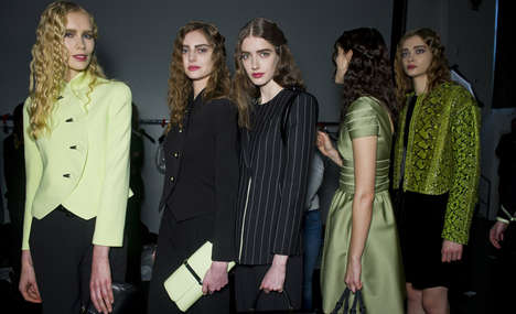 Chartreuse-Charcoal Fashion - This Giorgio Armani Fall Collection Expertly Blends Grays and Greens