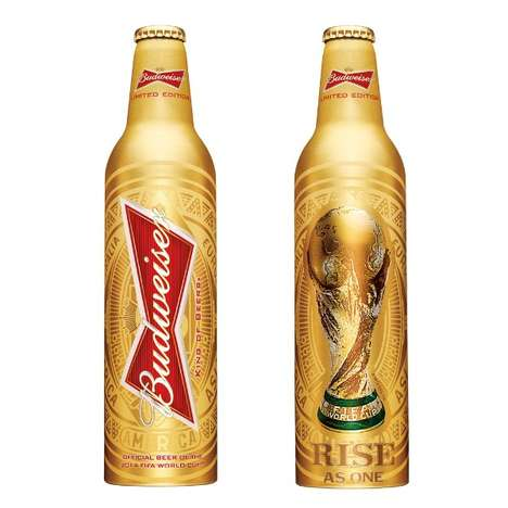 Lustrous Soccer Brew Bottles - The Budweiser World Cup Bottle Has Been Revealed