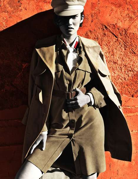 40s Military-Inspired Editorials - Yin Chao Captured Meng Huang for Numéro China