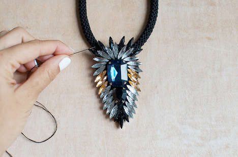 Glittering DIY Statement Necklaces - The DIY Crystal Flare Necklace is a Must-Have Wardrobe Piece