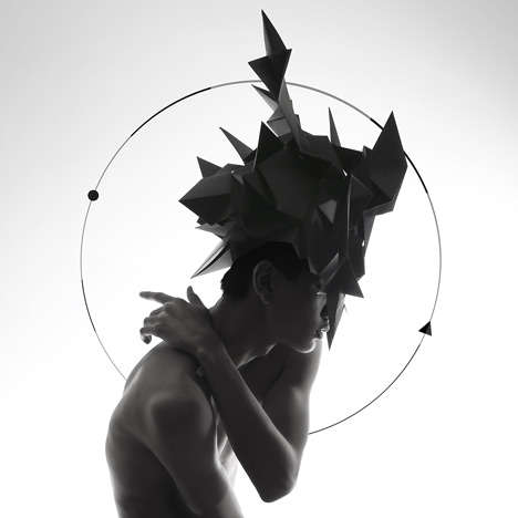 Angular Origami Headwear - Qi Hu's Origami Collection Alludes to Ancient Creatures Guarding a Gate