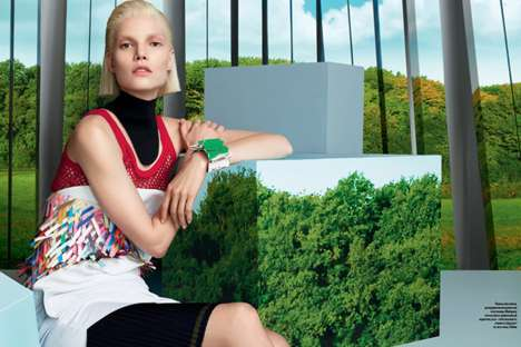 Stacked Scenic Cube Editorials - Cuneyt Akeroglu Shot Suvi Koponen for Vogue Ukraine