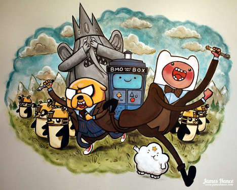 Cartoon Sci-Fi Murals - This Artist Created an Incredible Doctor Who Adventure Time Mural