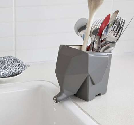 Elephant-Themed Cutlery Drainers