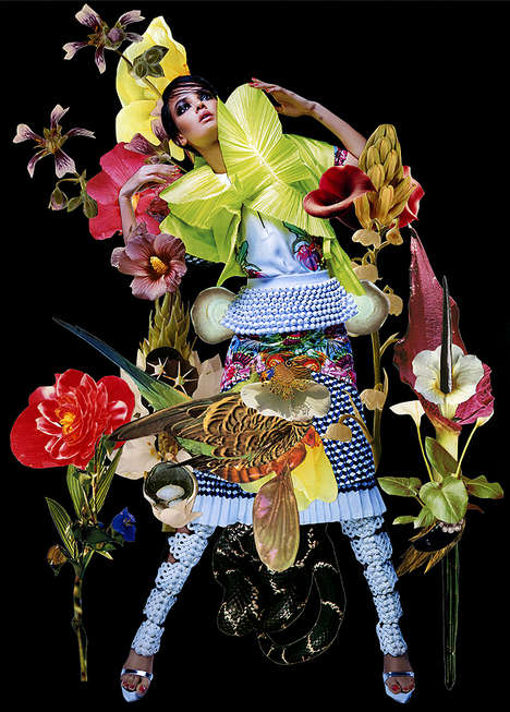 Funky Floral Collage Editorials - Eclectic Magazine Fashion Editorial by Ashkan Honavar