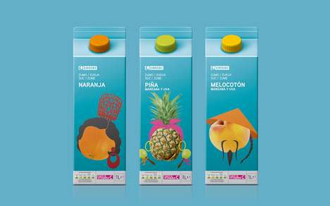 Dressed Edible Branding - Eroski Juice Packaging Emphasizes the Character Behind the Beverages