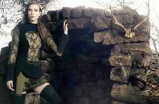Dark Celtic-Like Fashion Ads - The Animale Winter 2014 Campaign Stars Model Karlie Kloss
