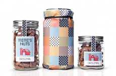 Pixelated Pecan Packaging - The Mimi's Nuts Design from Drew Watts Integrates Stitched Branding