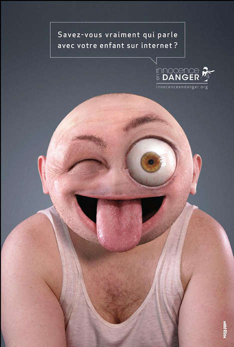 Creepy Emoticon Campaigns - Innocence en Danger Uses Unnerving Human Emojis for Ad Campaign