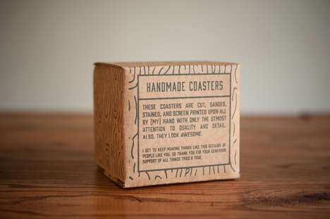 Illustrated Lumber Branding - Handmade Coasters Packaging Features an Applied Woodgrain Pattern