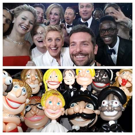 Inflated Oscars Selfie Recreations - This Artist Turned Ellen's Oscar Selfie into Balloon Art