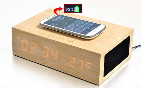 Wireless Wooden Chargers - The Qi Wooden Speaker is Bluetooth Enabled and Charges Your Phone