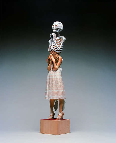 Surreal Bony Sculptures - Artist Yoshitoshi Kanemaki Creates Wooden Sculptures of Skeletons