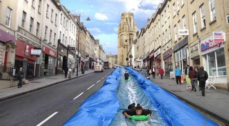 Enormous Urban Water Slides - Artist Luke Jerram is Behind the Exciting Park and Slide Project
