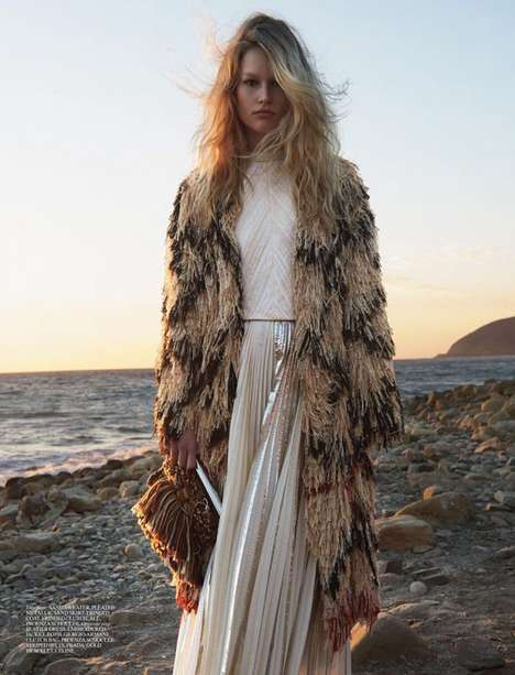 Bohemian Beach Editorials - Anna Ewers and Kirtsy Hume Star in This Self Service Magazine Editorial