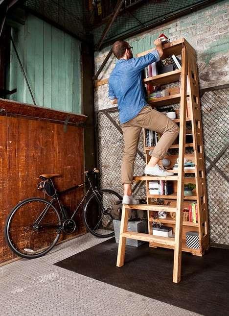 Built-In Ladder Bookshelves