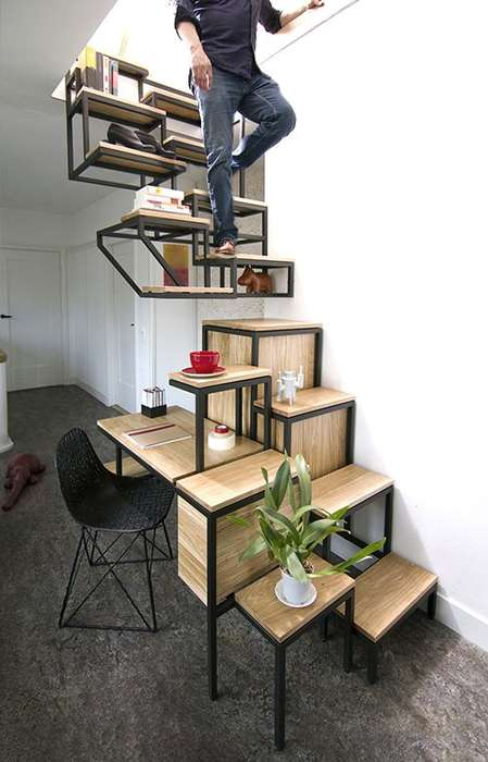 Hybrid Staircase Shelves