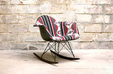 Tribal-Like Luxury Furniture - The Custom Pendleton Eames Rocking Chair Combines Two Iconic Designs