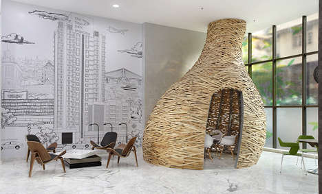 Nest-Like Meeting Rooms - Planet 3 Studios' New Meeting Room Resembles a Bird's Nest