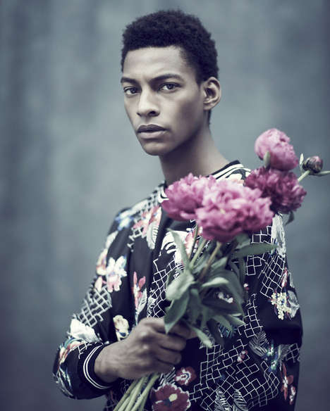 Flowery Men's Fashion - The In Bloom Editorial for Observer Magazine was Shot by Jason Hetherington