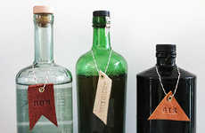 DIY Leather Booze Labels - The Leather Bar and Drink Tabs by Molly Madfis Spice up Home Decor