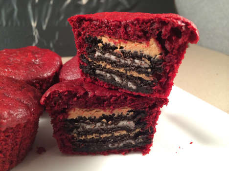 Triple-Mashed Desserts - The Oreo and Peanut Butter Stuffed Red Velvet Cupcakes is Epic