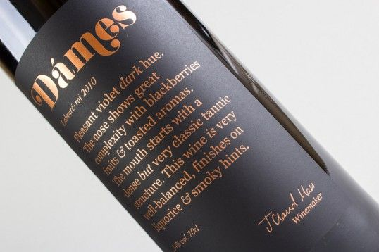 Copper-Dipped Wine Packaging - The Dames Laboure-Roi 2010 Design by Fifty3 Has a Mysterious Look