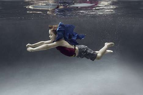 Playfully Submerged Child Photography