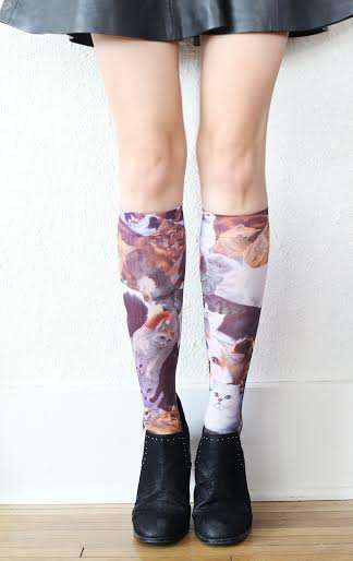 Feline Printed Hosiery - Show Off Your Playful Side with a Pair of These Cute Cat Socks