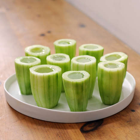 Edible Shot Glasses - The Cucumber Gimlet Shots Offers the Ultimate Refreshing Summer Drink