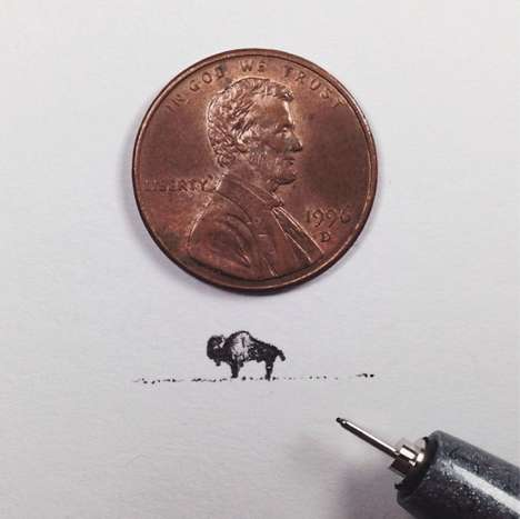 Penny-Sized Detailed Doodles - These Sam Larson Drawings Celebrate the American West