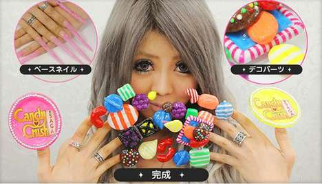 Candy-Coated Fingernail Billboards - These Candy Crush Nails are Insanely Extravagant