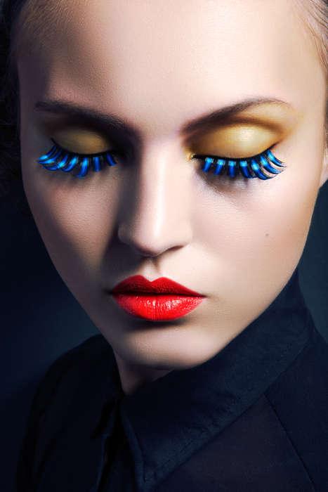 Vibrant Feather Eyelash Looks