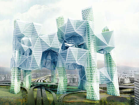 Community-Connecting Eco Skyscrapers - The Skyvillage Connects Communities and Cleans Up Pollution