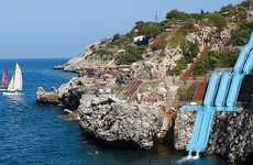 Ciffside Water Slides - Citta Del Mare Hotel's Water Slide Flows Down a Cliff into the Ocean