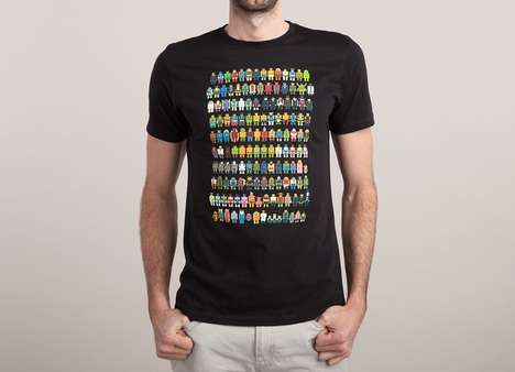 Pixelated Pop Culture Attire - This Mini Pixel Shirt Has All You Favorite Pop Culture Icons