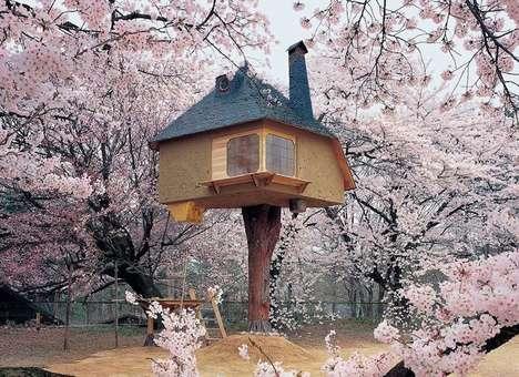 Flowery Tree Trunk Houses