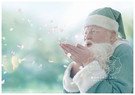 Warm Weather Christmas Campaigns - Spring Santa is Helping AGF Japan Celebrate Christmas in Spring
