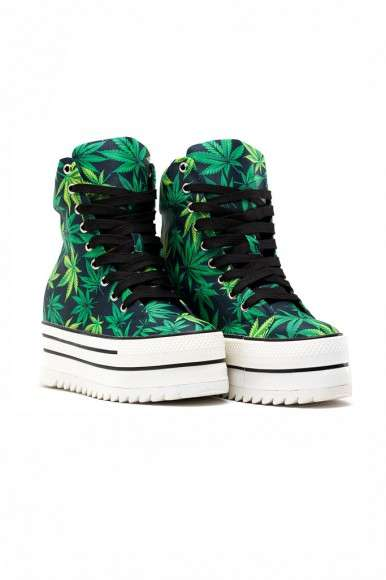 Canabis-Themed Platform Sneakers