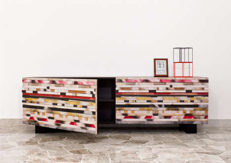 Wood Mosaic Cabinets