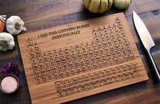 Scientific Chopping Boards - This Wood Chopping Board is Designed Like a Periodic Table